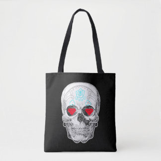 White Sugar Skull Tote Bag