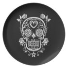 White Sugar Skull with Roses on Black Plate