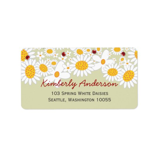 White Summer Daisies & Red Ladybugs Address Labels