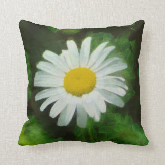 White Summer Daisy Throw Pillow