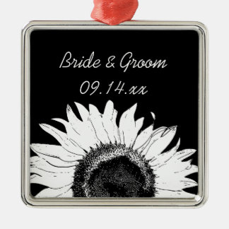 White Sunflower on Black Wedding Christmas Ornament
