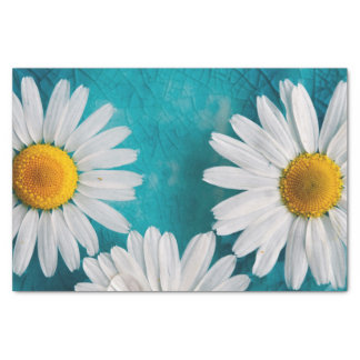 White Sunflowers on Turquoise Tissue Paper