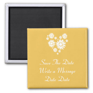 White Sunflowers Save The Date Magnet