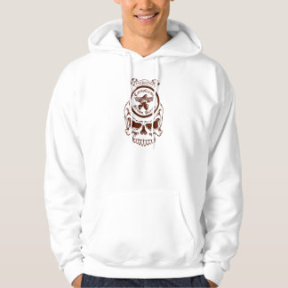 White Supporter Hoody, Brown Skull Design Hooded Pullovers