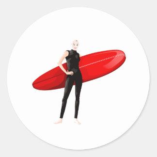 White Surfer Round Stickers