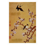 white Swallows and Flowering Branches, Chiang T'in Posters
