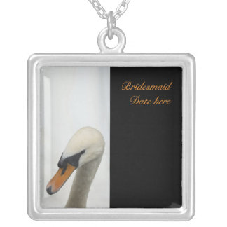 White Swan Bridesmaids Wedding Silver Plated Necklace