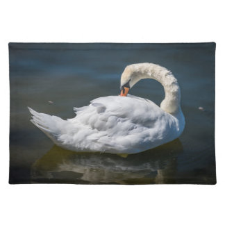 White swan cleaning its feathers placemat