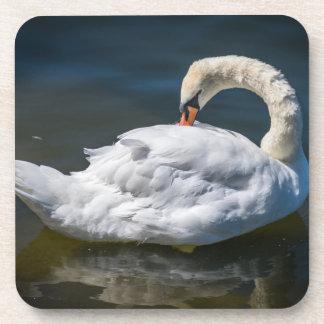 White swan hard plastic coasters
