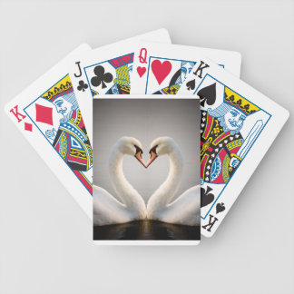 White Swan Heart Bicycle Playing Cards