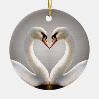 White Swan Heart Christmas Ornament