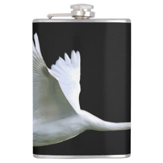 White Swan in Full Flight Hip Flask