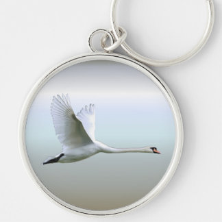 White Swan in Full Flight Key Ring