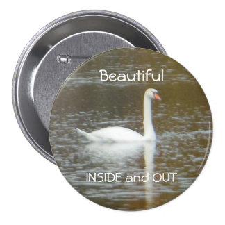 White Swan in Water Large Three Inch Round Button 3 Inch Round Button