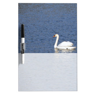 White Swan on Blue Waters Dry Erase Board