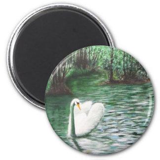 White Swan on White Lake Fridge Magnets