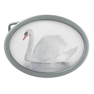 White Swan Oval Belt Buckle