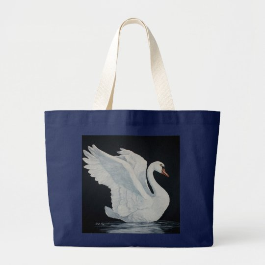 White Swan painting by DiDi Large Tote Bag