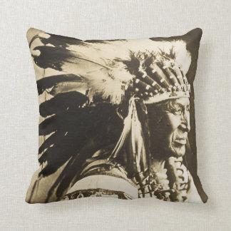 White Swan Sioux Chief Vintage Throw Pillow