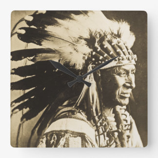 White Swan Sioux Indian Chief Vintage Square Wall Clock