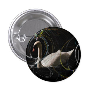White Swan swimming  in a spiral coloured web. 3 Cm Round Badge