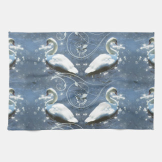 White Swans On Blue Shining Lake Tea Towel