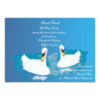 White Swans Wedding Brunch Invitation