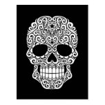 White Swirling Sugar Skull on Black Postcards