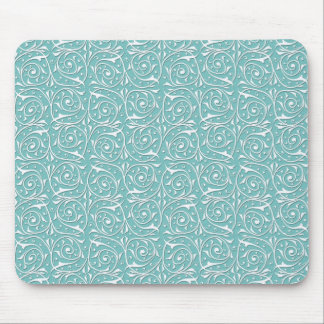White Swirling Vines on Turquoise Mouse Pad