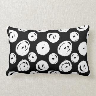 White Swirls Abstract Pattern Lumbar Pillow