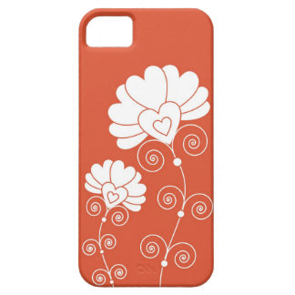 White Swirls And Floral Pattern - Red Barely There iPhone 5 Case