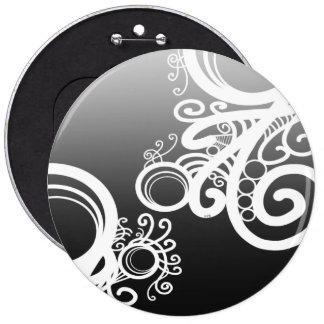 White Swirls Art Nouveau 6 Cm Round Badge
