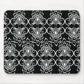 White Swirls Floral Pattern  On Black Mouse Pads