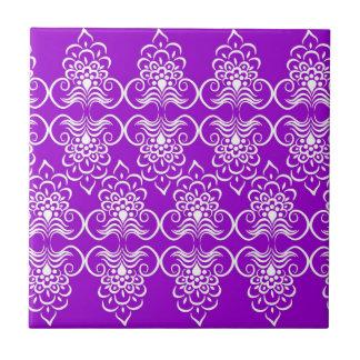 White Swirls Floral Pattern On Neon Purple Tiles