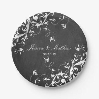 White Swirls On Chalkboard Paper Plate