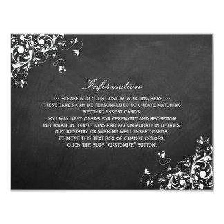 White Swirls On Chalkboard Wedding Detail Card
