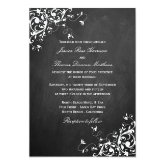 White Swirls On Chalkboard Wedding Invitations