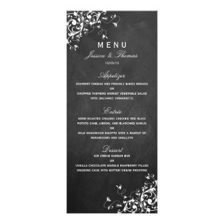 White Swirls On Chalkboard Wedding Menu