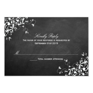 White Swirls On Chalkboard Wedding RSVP Cards
