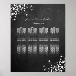 White Swirls On Chalkboard Wedding Seating Chart
