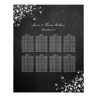 White Swirls On Chalkboard Wedding Seating Chart Poster