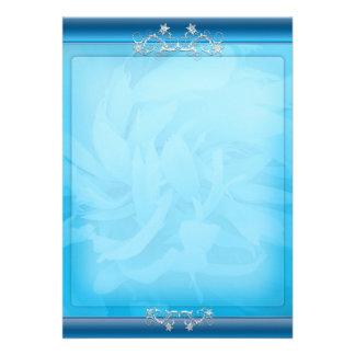 White swirls on unique bluish floral pattern invitation