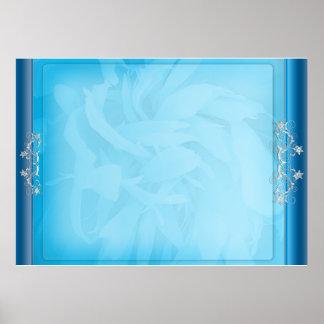 White swirls on unique bluish floral pattern print