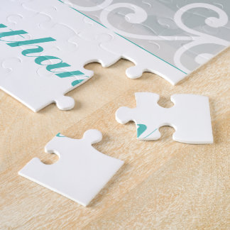 White Swirls, Teal text bride groom Wedding Photo Jigsaw Puzzle
