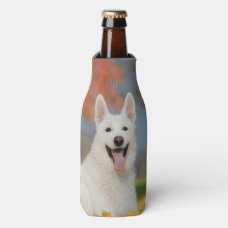 White Swiss Shepherd Dog Photo - Cute Furry Friend Bottle Cooler
