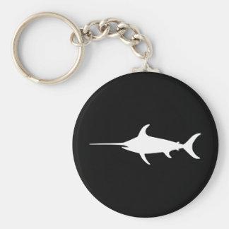 White Swordfish Basic Round Button Key Ring