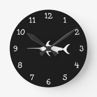 White Swordfish Round Clock