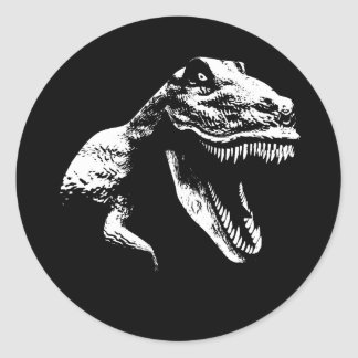 White T Rex Classic Round Sticker