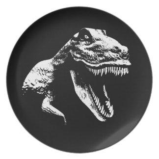 White T Rex Party Plates