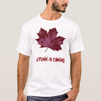 White T-Shirt with a Red Rusty Maple Leaf